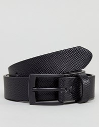 Asos Smart Slim Belt With Cross Stitch Emboss In Black Faux Leather