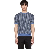 Prada Blue Jacquard Twist Short Sleeve Sweater
