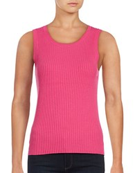Lord And Taylor Plus Sleeveless Roundneck Ribbed Top Tulip Pink