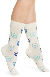 Happy Socks Cat Crew White