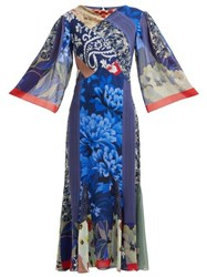 Etro Patchwork Print Silk Chiffon Dress Blue Multi