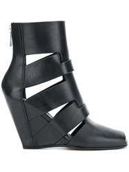 Rick Owens Strappy Wedge Sandals Calf Leather Leather Black