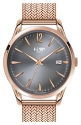 Women's Henry London 'Finchley' Analog Mesh Strap Watch 38Mm