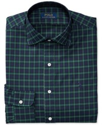 Polo Ralph Lauren Men's Classic Fit Stretch Tartan Dress Shirt Evergreen Navy Plaid