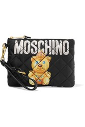 Moschino Quilted Printed Shell Pouch Black