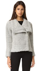 Cupcakes And Cashmere Sanford Textured Asymmetric Zip Jacket Light Heather Grey