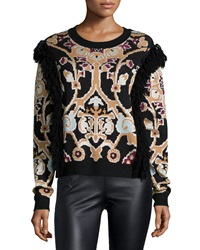 Ronny Kobo Tilda Printed Sweater W Fringe Multi Colors