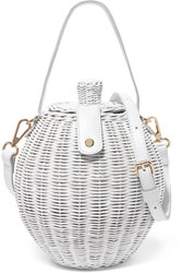 Ulla Johnson Tautou Mini Leather Trimmed Wicker Shoulder Bag White Gbp