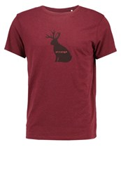 Prana Journeyman Slim Print Tshirt Raisin Heather Mottled Dark Red