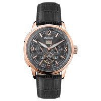 Ingersoll Men's The Regent Automatic Chronograph Date Heartbeat Leather Strap Watch Black