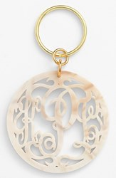 Women's Moon And Lola Personalized Monogram Key Chain Ivory Blonde Tortoise