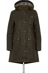 Belstaff Coated Cotton Canvas Hooded Parka Army Green