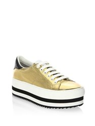 Marc Jacobs Grand Leather Platform Sneakers Gold
