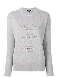 Theory Crew Neck Embroidered Jumper Grey