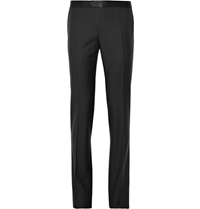 Lanvin Slim Fit Wool And Mohair Blend Tuxedo Trousers Black
