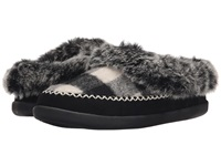 Woolrich Dove Creek Black White Buffalo Check Wool Women's Slippers Blue