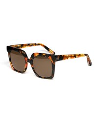 Elizabeth And James Rae Square Acetate Sunglasses Brown Pattern