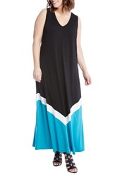 Karen Kane Plus Size Women's Colorblock Maxi Dress Black And Turquoise