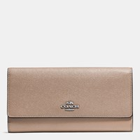 Coach Trifold Wallet In Crossgrain Leather Silver Stone