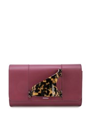 Perrin Paris Tortoiseshell Handle Clutch Red