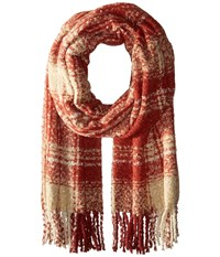 Free People Loveland Plaid Fringe Scarf Red Scarves