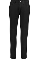 Current Elliott The Fling Mid Rise Leather Skinny Jeans Black