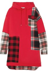 Mcq By Alexander Mcqueen Hooded Oversized Patchwork Cotton Jersey And Checked Flannel Dress Red