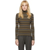 6397 Navy And Brown Striped Rib Turtleneck