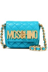 Moschino Neon Quilted Leather Shoulder Bag Turquoise