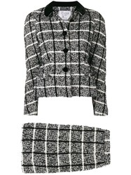 Moschino Vintage 1990'S Checked Skirt Suit Black
