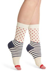 Happy Socks Stripes And Dots Crew White