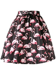 Red Valentino Flamingo Print Drawstring Skirt Black
