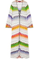 Missoni Mare Lace Up Crochet Knit Kaftan White