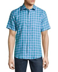 Neiman Marcus Plaid Linen Short Sleeve Sport Shirt Horizon