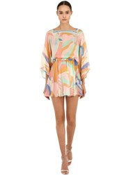 Emilio Pucci Printed Silk Dress Yellow Orange