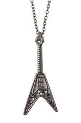 Zadig And Voltaire Guitar Charm Long Necklace Gray