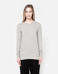 Nsco Flat Knitted Rib Crew Neck In Light Grey