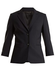 The Row Schoolboy Wool Blend Blazer Navy