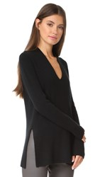 Tse Cashmere Long Sleeve Slit V Sweater Black
