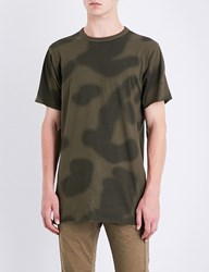 Mhi Camouflage Print Cotton Jersey T Shirt Woodland