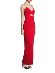 Alberto Makali Sleeveless Cutout Gown Red