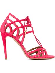 Aquazzura Lace Up Strappy Sandals Pink And Purple