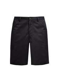 Acne Studios Allan Wide Leg Cotton Blend Shorts Navy