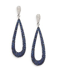 Bh Multi Color Corp. Diamond Sapphire And 14K White Gold Drop Earrings