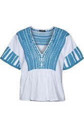 Love Sam Crochet Paneled Cotton Voile Top Azure