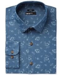 Bar Iii Men's Slim Fit Stretch Easy Care Denim Wild Flower Print Dress Shirt Only At Macy's