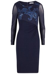 Gina Bacconi Two Tone Embroidered Sequin Mesh Dress Navy