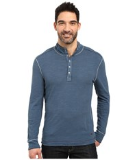 True Grit Royal Slub Mock Up Henley With Stitch Detail Industrial Blue Men's Clothing