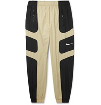 Nike Tapered Logo Embroidered Colour Block Shell Track Pants Neutrals