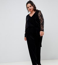 Junarose Lace And Velvet Jumpsuit Black